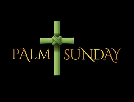 A Christian Palm Sunday religious holiday cross illustration. Vector is available.