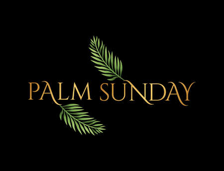A Christian Palm Sunday religious holiday with palm branches and leaves illustration. Vector is available.