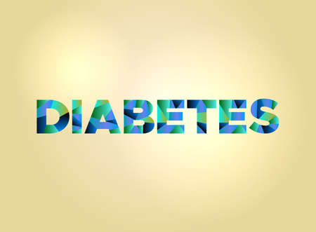 The word DIABETES concept written in colorful fragmented word art on a bright background illustration. Vector EPS 10 available.