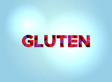 The word GLUTEN concept written in colorful fragmented word art on a bright background illustration. Vector EPS 10 available.