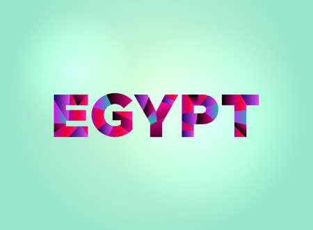The word EGYPT concept written in colorful fragmented word art on a bright background illustration. Vector EPS 10 available. Stock fotó - 93378110