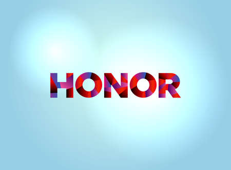The word HONOR concept written in colorful fragmented word art on a bright background illustration. Vector available.