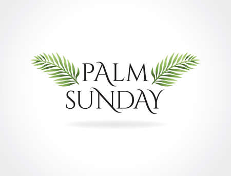 A Christian Palm Sunday religious holiday with palm branches and leaves illustration.