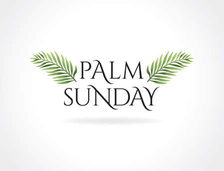 Una festa religiosa di Christian Palm Sunday con l'illustrazione dei rami e delle foglie della palma.