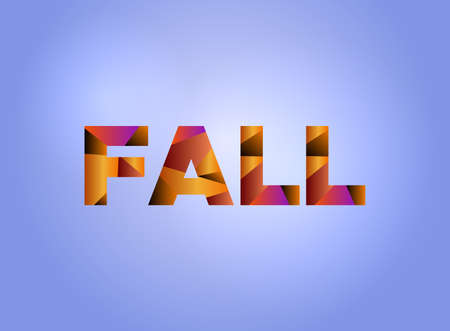 The word FALL concept written in colorful fragmented word art on a bright background illustration. Illustration