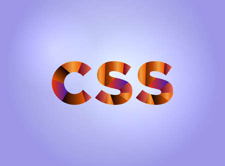 The word CSS concept written in colorful fragmented word art on a bright background illustration.