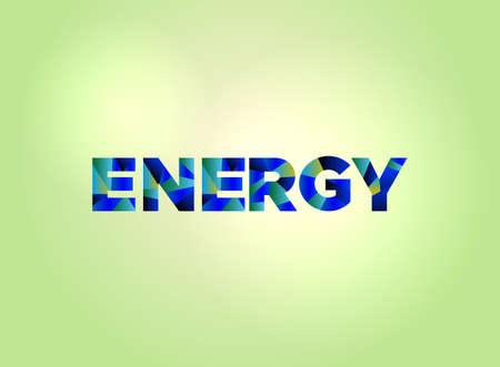 밝은 배경 일러스트 레이 션에 다채로운 조각난 된 word 아트로 작성 된 에너지 개념 단어. 벡터 EPS 10 사용할 수 있습니다.