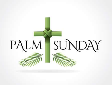 Een christelijke Palmzondag religieuze feestdag met palmtakken en bladeren en kruisillustratie. Vector EPS 10 beschikbaar.