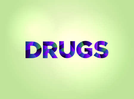 The word DRUGS concept written in colorful fragmented word art on a bright background illustration. Vector EPS 10 available. Vettoriali