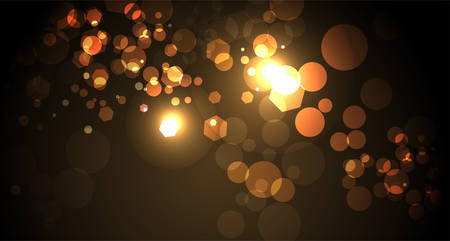 An abstract yellow and gold bokeh of lights background illustration. Vector EPS 10 available.