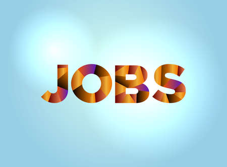 The word JOBS concept written in colorful fragmented word art on a bright background illustration. Vector EPS 10 available.