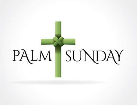 パーム日曜日のキリスト教の宗教的な祝日はクロスの図です。ベクター EPS 10 利用できます。