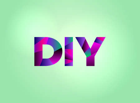 The word DIY concept written in colorful fragmented word art on a bright background illustration. Vector EPS 10 available.
