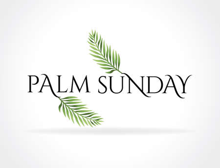 A Christian Palm Sunday religious holiday with palm branches and leaves illustration. Vector EPS 10 available.