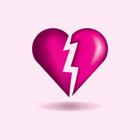 A pink broken heart concept illustration.