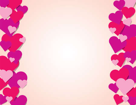 Pink red and purple hearts forming a border on a pink background illustration. Çizim