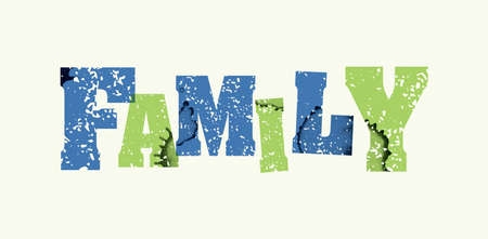 The word FAMILY concept printed in letterpress hand stamped colorful grunge paint and ink.