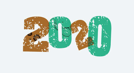 The year 2020 concept printed in letterpress hand stamped colorful grunge paint and ink.