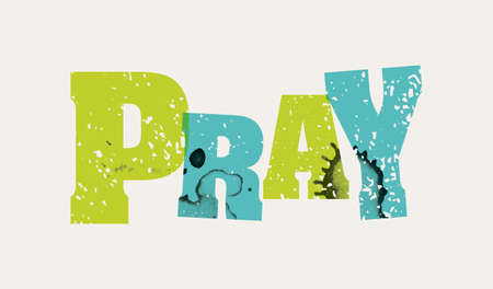 The word PRAY concept printed in letterpress hand stamped colorful grunge paint and ink. Illustration