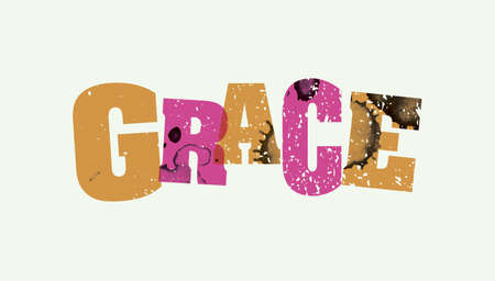 The word GRACE concept printed in letterpress hand stamped colorful grunge paint and ink.