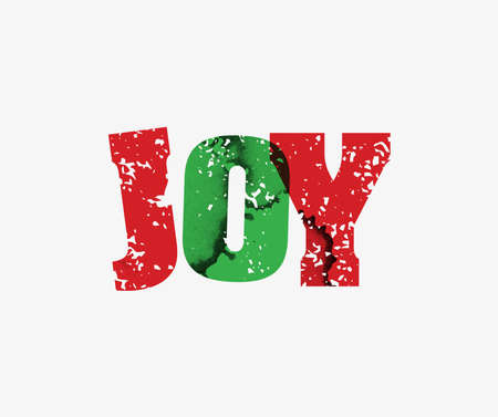 The word JOY concept printed in letterpress hand stamped colorful grunge paint and ink.