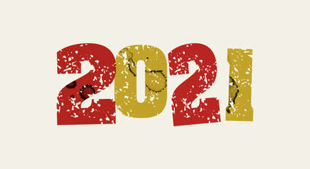 The year 2021 concept printed in letterpress hand stamped colorful grunge paint and ink. Vector EPS 10 available.