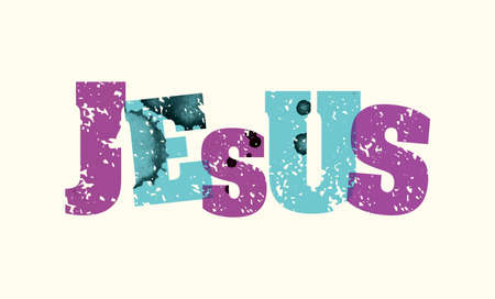 The name JESUS concept printed in letterpress hand stamped colorful grunge paint and ink. Vector EPS 10 available. Illustration