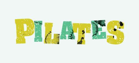 The word PILATES concept printed in letterpress hand stamped colorful grunge paint and ink. Ilustração