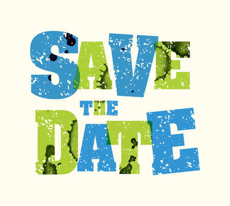 The words SAVE THE DATE concept printed in letterpress hand stamped colorful grunge paint and ink.