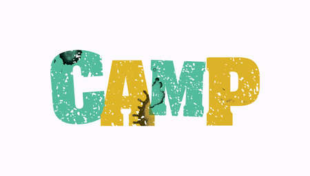 The word CAMP concept printed in letterpress hand stamped colorful grunge paint and ink.
