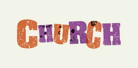 The word CHURCH concept printed in letterpress hand stamped colorful grunge paint and ink. Ilustração