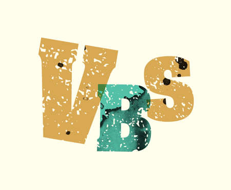 The word VBS concept printed in letterpress hand stamped colorful grunge paint and ink.