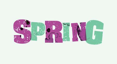The word SPRING concept printed in letterpress hand stamped colorful grunge paint and ink. Ilustração