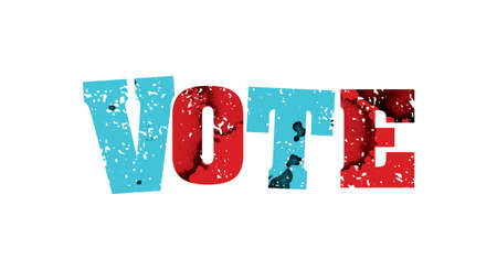 The word VOTE concept printed in letterpress hand stamped colorful grunge paint and ink.