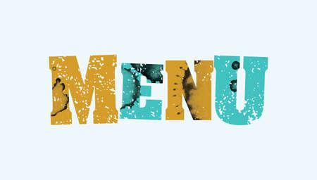 Het woord MENU concept gedrukt in boekdruk hand gestempeld kleurrijke grunge verf en inkt. Stock Illustratie