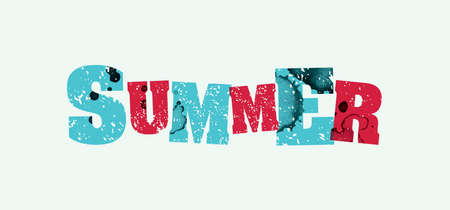 The word SUMMER concept printed in letterpress hand stamped colorful grunge paint and ink. Vector available. Ilustração
