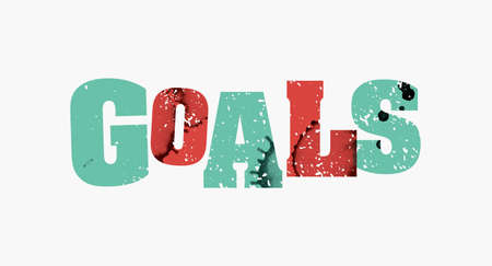 The word GOALS concept printed in letterpress hand stamped colorful grunge paint and ink.