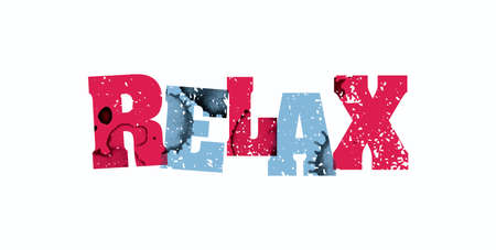 The word RELAX concept printed in letterpress hand stamped colorful grunge paint and ink. Vector EPS 10 available.