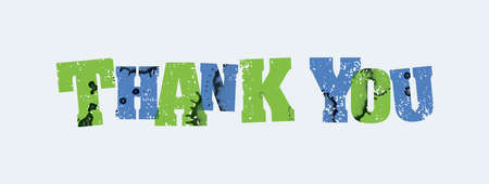 The words THANK YOU concept printed in letterpress hand stamped colorful grunge paint and ink.