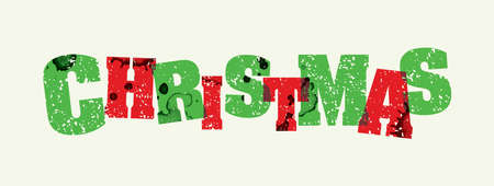 The word CHRISTMAS concept printed in letterpress hand stamped colorful grunge paint and ink.