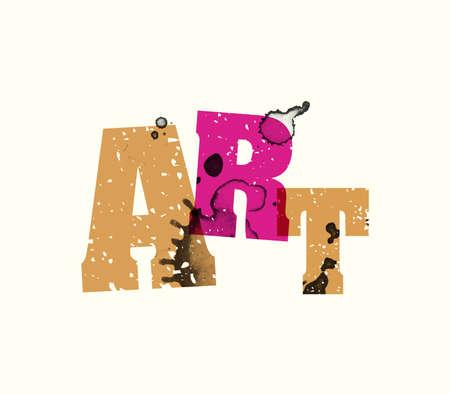 Het woord ART concept gedrukt in boekdruk hand gestempeld kleurrijke grunge verf en inkt. Stock Illustratie