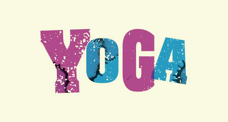 The word YOGA concept printed in letterpress hand stamped colorful grunge paint and ink. Illustration