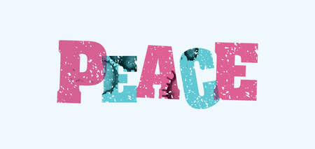 The word PEACE concept printed in letterpress hand stamped colorful grunge paint and ink.