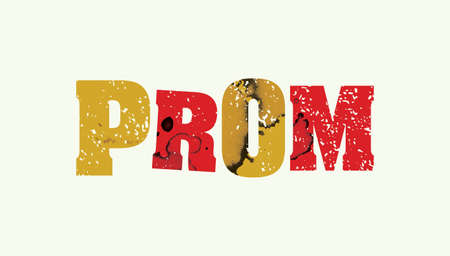 The word PROM concept printed in letterpress hand stamped colorful grunge paint and ink. Иллюстрация