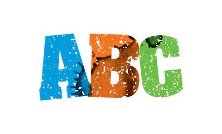レタープレスハンドで印刷されたABCコンセプトという言葉は、カラフルなグランジ塗料とインクを刻印しました。ベクトル EPS 10 が利用可能です。