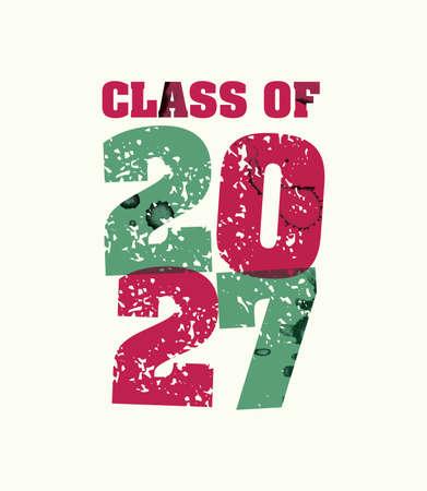 文字プレスハンドで印刷された2027年の概念の言葉クラスは、カラフルなグランジ塗料とインクを刻印しました。ベクトル EPS 10 が利用可能です。