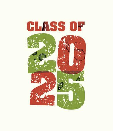 文字プレスハンドで印刷された2025年の概念の言葉クラスは、カラフルなグランジ塗料とインクを刻印しました。ベクトル EPS 10 が利用可能です。  イラスト・ベクター素材