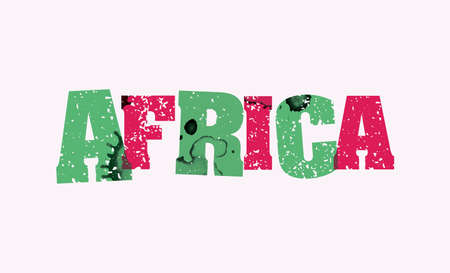 The word AFRICA concept printed in letterpress hand stamped colorful grunge paint and ink. Vector EPS 10 available. Ilustração
