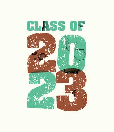 文字プレスハンドで印刷された2023年の概念の言葉クラスは、カラフルなグランジ塗料とインクを刻印しました。ベクトル EPS 10 が利用可能です。