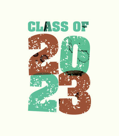 The words Class of 2023 concept printed in letterpress hand stamped colorful grunge paint and ink. Vector EPS 10 available. Illusztráció
